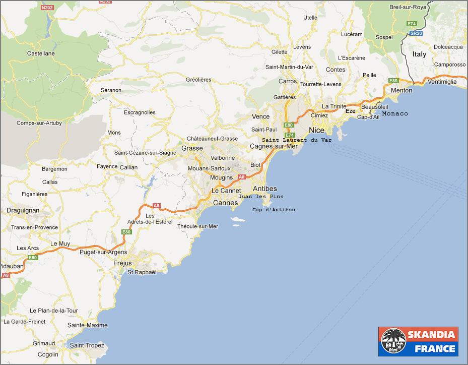 franska rivieran karta Karta över Franska Rivieran franska rivieran karta